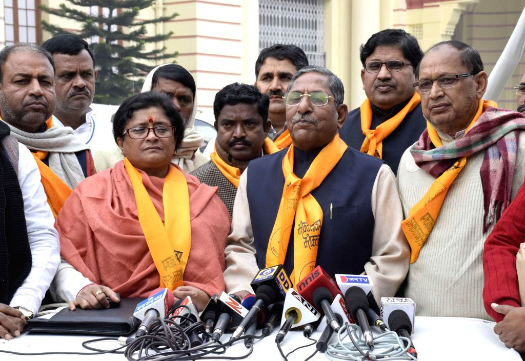 BJP legislators address a press conference at the premises of Bihar Assembly in Patna, on Dec 23, 2014.