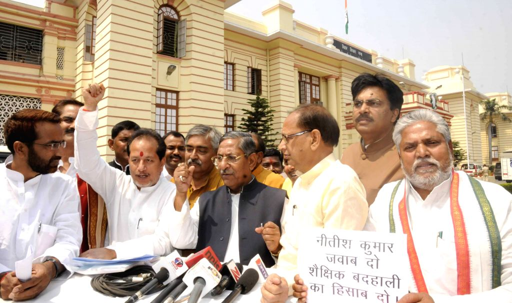 BJP legislators address a press conference at Bihar assembly in Patna on March 26, 2015.