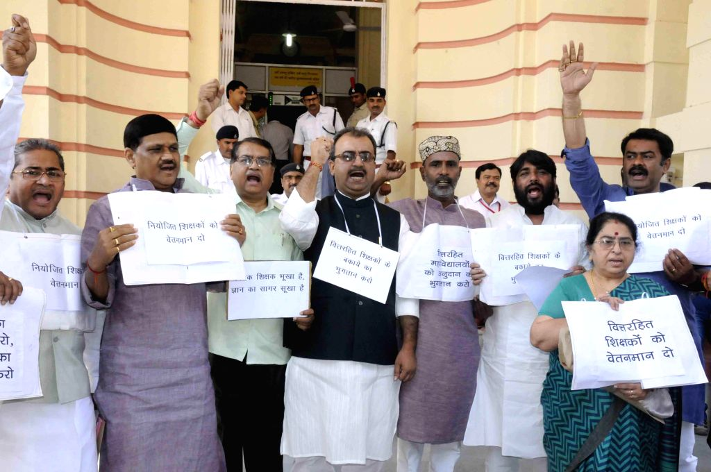 BJP legislators stage a demonstration at Bihar legislative assembly in Patna, on March 18, 2015.