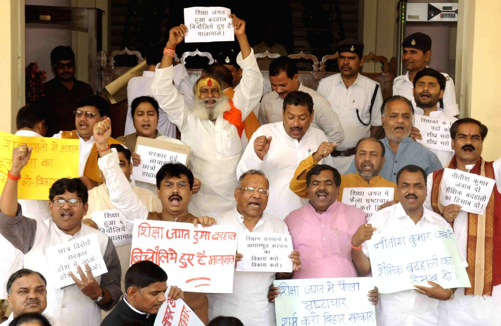 BJP legislators stage a demonstration at Bihar assembly in Patna on March 26, 2015.