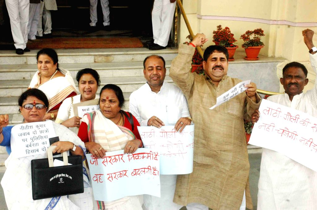BJP legislators stage a demonstration at Bihar assembly against lathi charge on ABVP activists in Patna on March 27, 2015.
