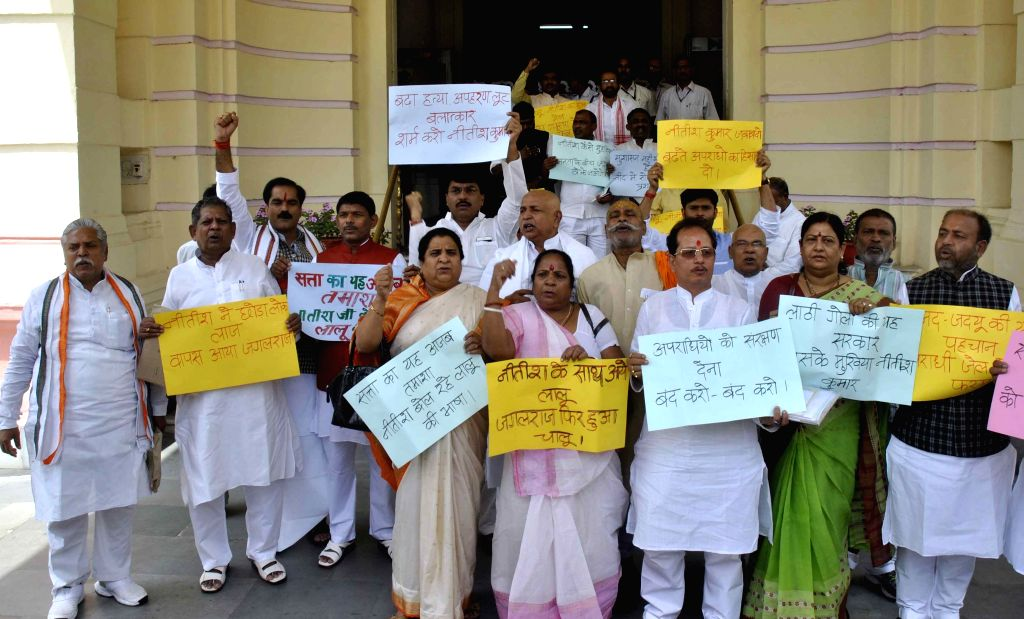 BJP legislators stage a demonstration at Bihar Assembly in Patna, on April 22, 2015.