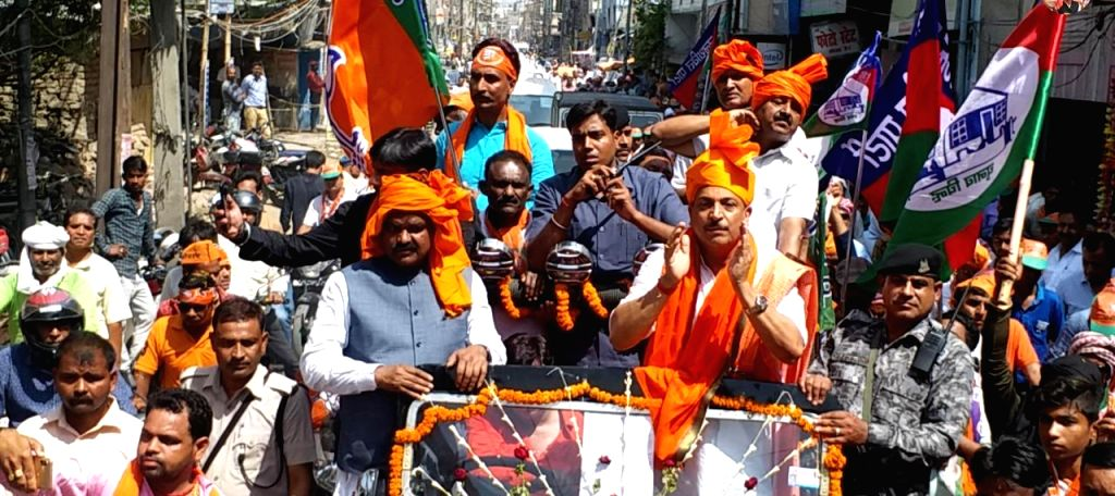 Patna: BJP MP and the party's Lok Sabha candidate from Saran, Rajiv Pratap Rudy during a roadshow ahead of filing his nomination for the forthcoming Lok Sabha elections, in Bihar's Saran on ...