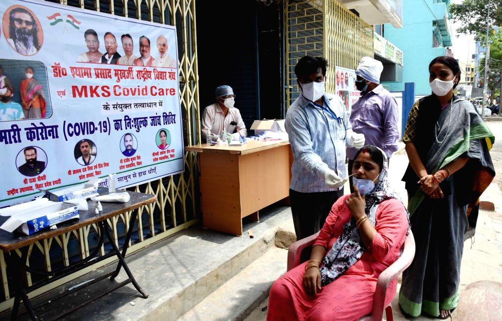 Patna :  BJP worker Archana Ray organised covid testing camp at  Kankar Bagh in Patna on 15 May ,2021.