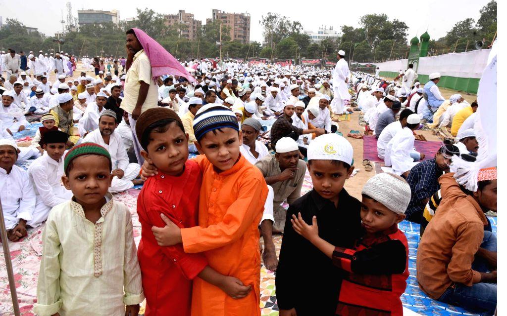 Patna: Children exchange greetings on Eid-ul-Fitr, in Patna, on June 5, 2019. (Photo: IANS)
