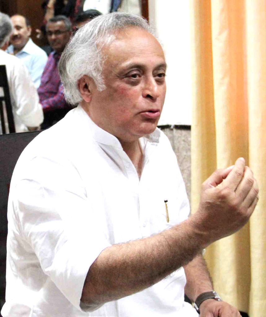 Congress leader Jairam Ramesh talks to press in Patna, on March 24, 2015.