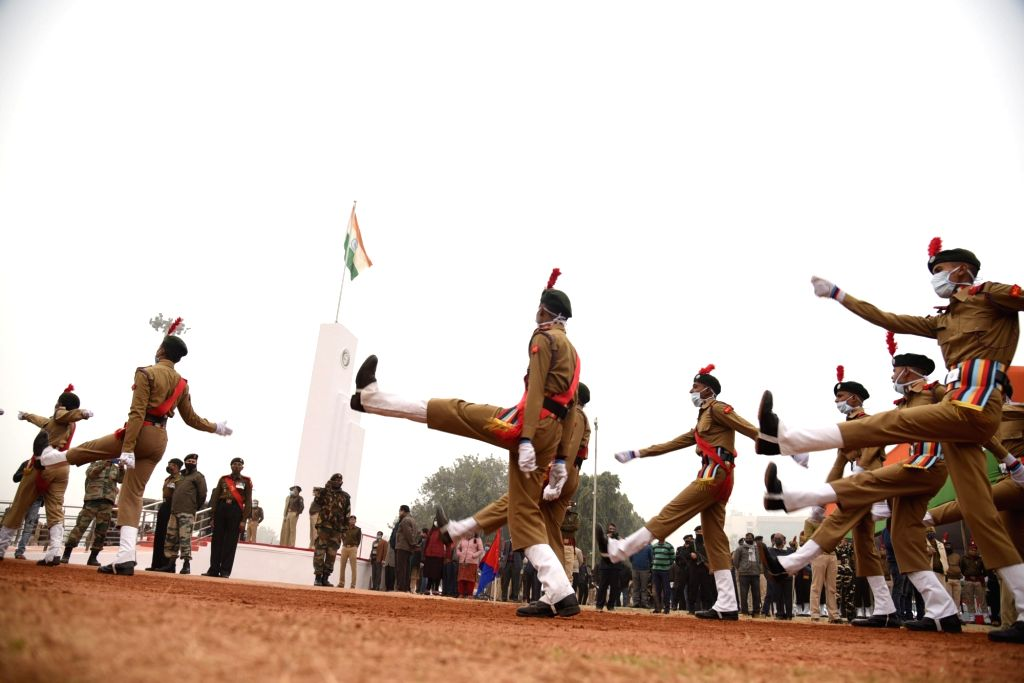 Patna: Contingents of Indian Armed Force march-past during the full dress rehearsal for the upcoming Republic Day parade, at Gandhi Maidan in Patna, Sunday Jan. 24, 2021.(Photo: IANS/Indrajit Dey)