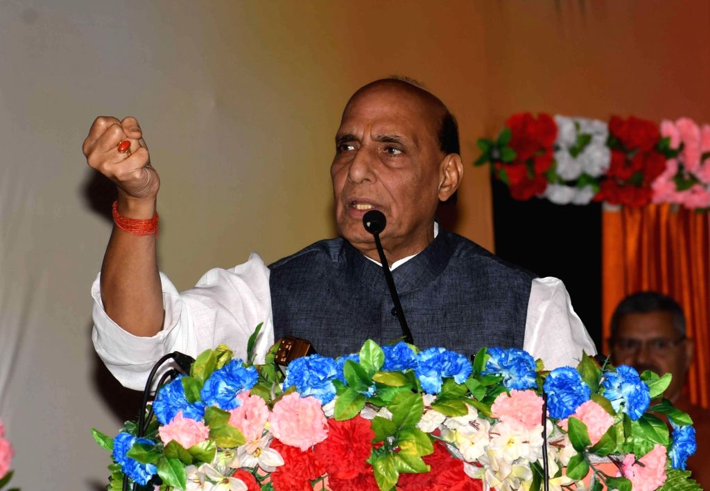 Patna: Defence Minister Rajnath Singh addresses during the 'Janjagran' meeting on Article 370 of the Constitution granting special status to Jammu and Kashmir in Patna on Sep 22, 2019. (Photo: IANS) - Rajnath Singh