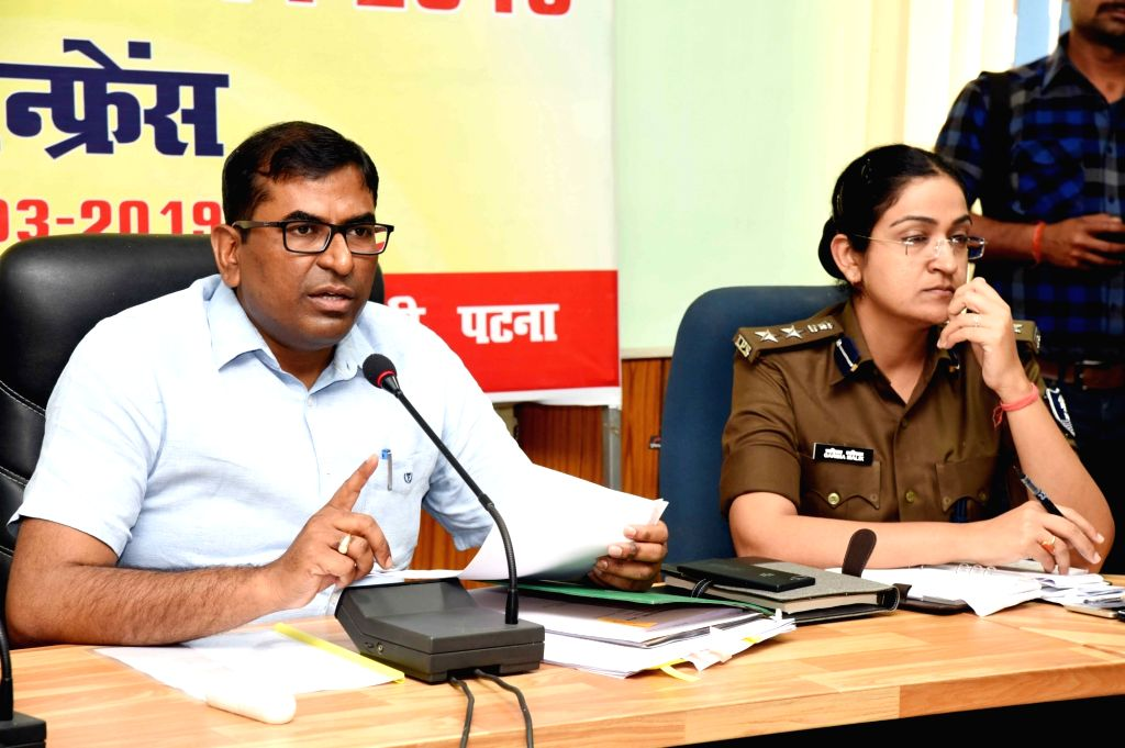 Patna District Election Officer (DEO)-cum-District Magistrate (DM) Kumar Ravi addresses a press conference regarding 2019 Lok Sabha elections in Patna, on March 13, 2019.
