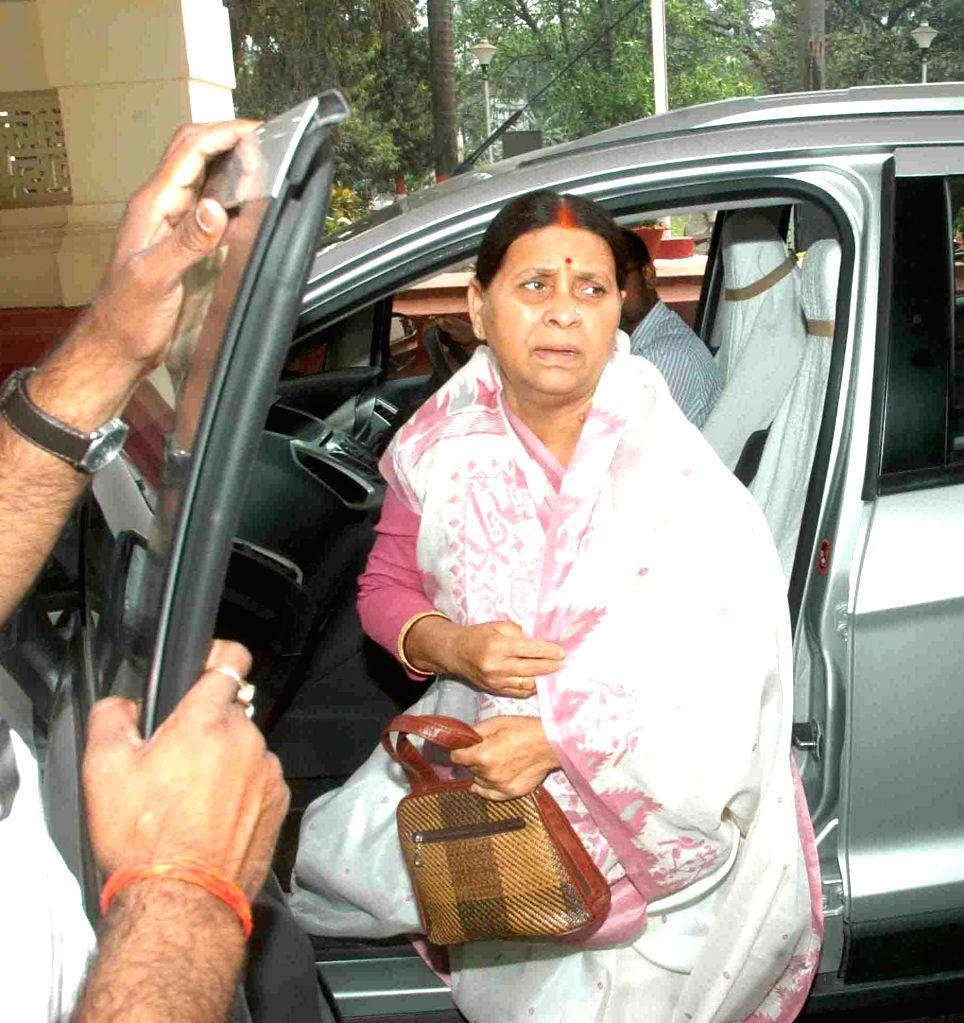 Former Bihar Chief Minister nd RJD leader Rabri Devi arrives at Bihar assembly in Patna on March 27, 2015.