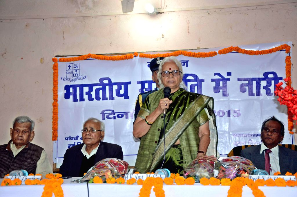 Goa Governor Mridula Sinha addresses a seminar organised by the Sociology Department of Patna University in Patna, on Feb 18, 2015. - Mridula Sinha