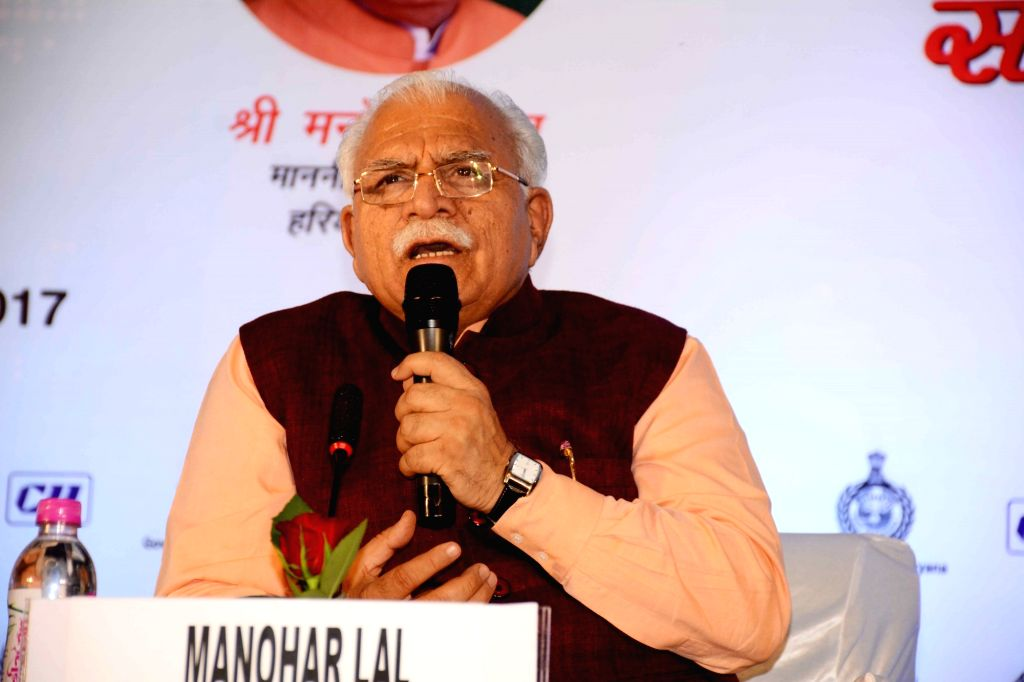 Patna: Haryana Chief Minister Manohar Lal Khattar addresses during a programme in Patna on Dec 3, 2017. (Photo: IANS) - Manohar Lal Khattar