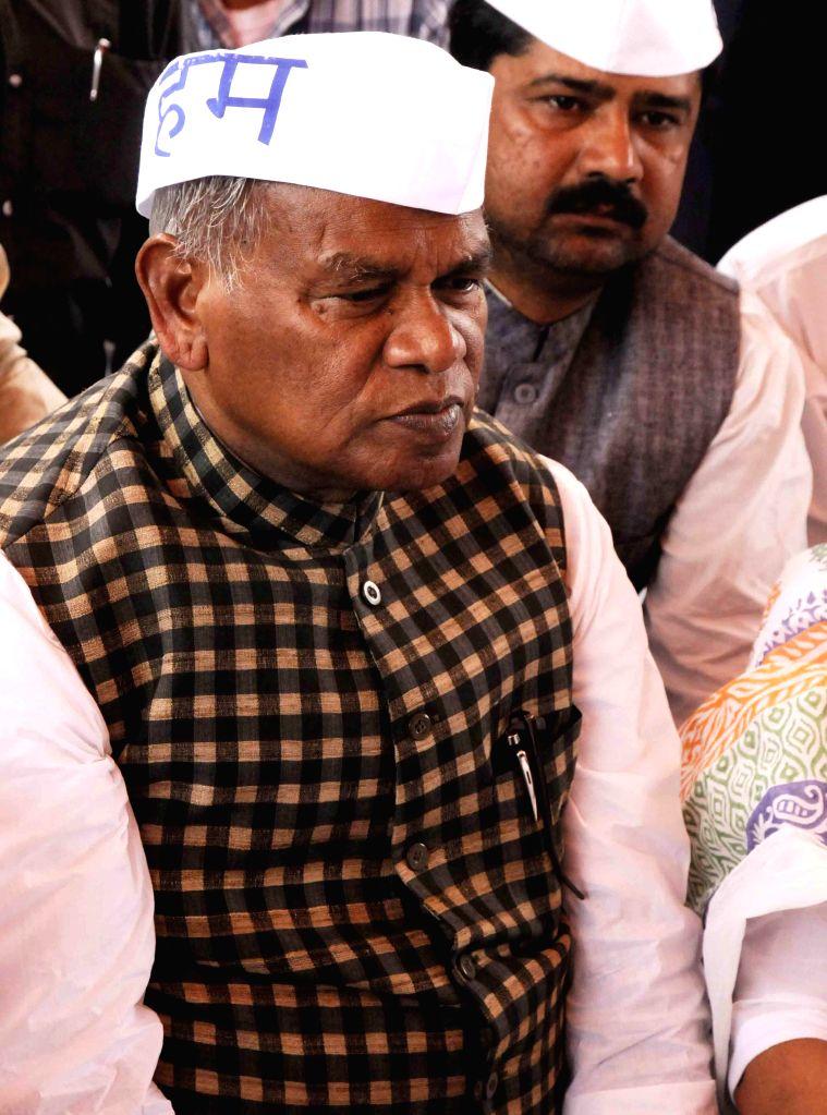 Hindustani Awam Morcha (HAM) leader Jitan Ram Manjhi sits on a day long fast at the Gandhi Maidan in Patna, on March 9, 2015.