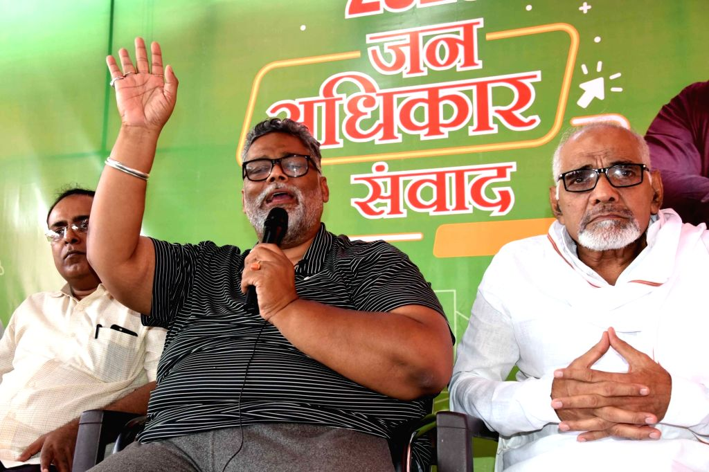 Patna: Jan Adhikar Party (JAP) chief Pappu Yadav addresses a press conference in Patna on Aug 28, 2020. (Photo: IANS) - Pappu Yadav