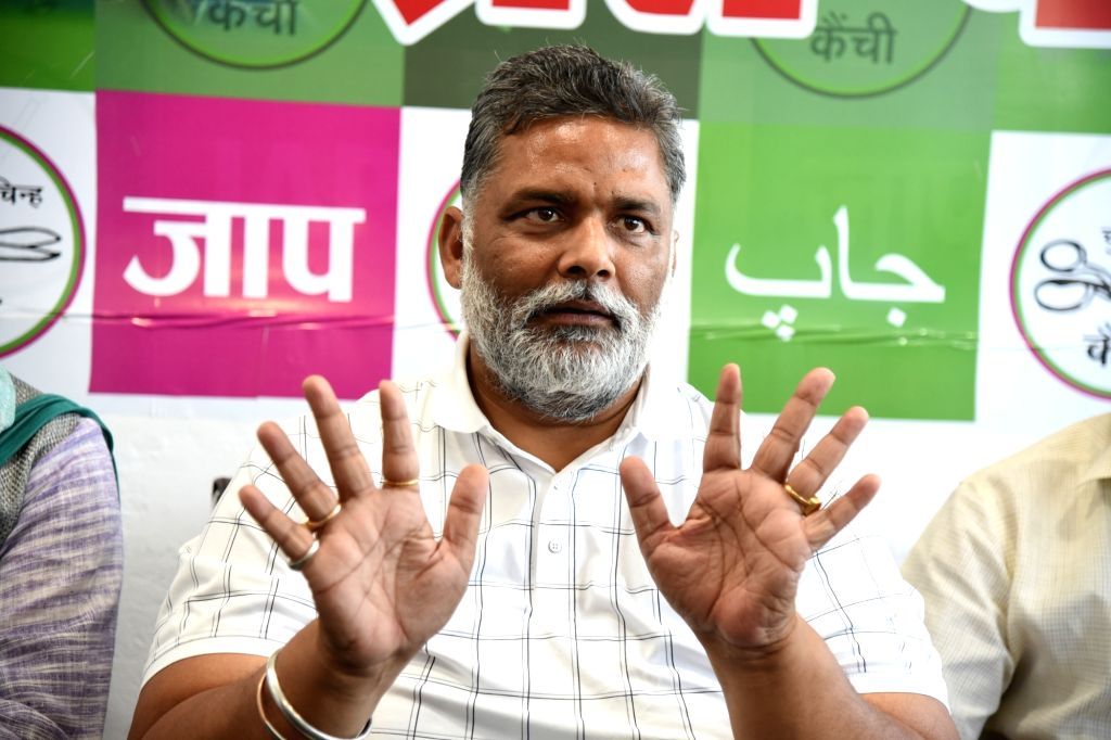 Patna: Jan Adhikar Party President Pappu Yadav on Sunday said that the Karni Sena people who had come from outside after the killings in Madhubani tried to create a frenzy in the society on Sunday, April 11th, 2021.(photo:Indrajit Dey/IANS) - Pappu Yadav