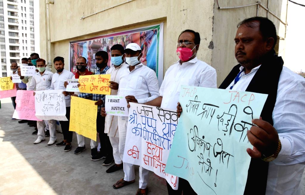 Patna :  jan adhikar party workers protest against the arrest of JAP supremo Pappu Yadav Patna on 15 May ,2021. - Pappu Yadav Patna