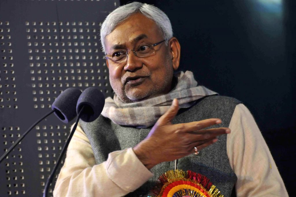 Janata Dal (United) leader Nitish Kumar addresses during a programme organised on the birth anniversary of Swami Vivekananda in Patna on Jan 12, 2015.