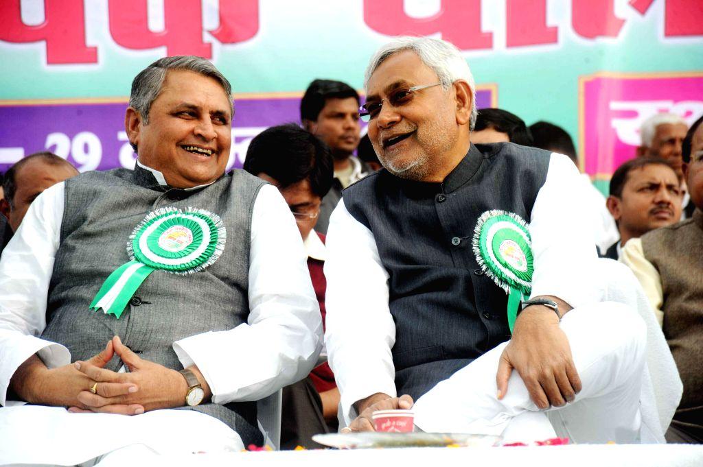 JD (U) leader Nitish Kumar during a party programme in Patna on Nov 29, 2014.