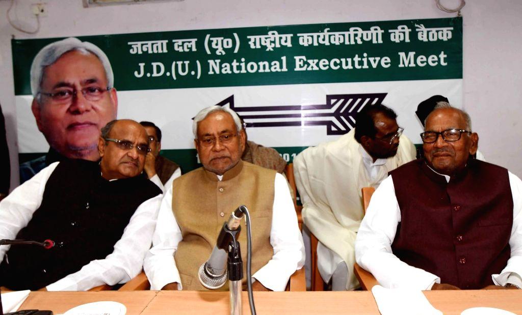 Patna: JD(U) leaders Nitish Kumar and KC Tyagi during party's national executive meeting in Patna on March 4, 2019. (Photo: IANS) - Nitish Kumar