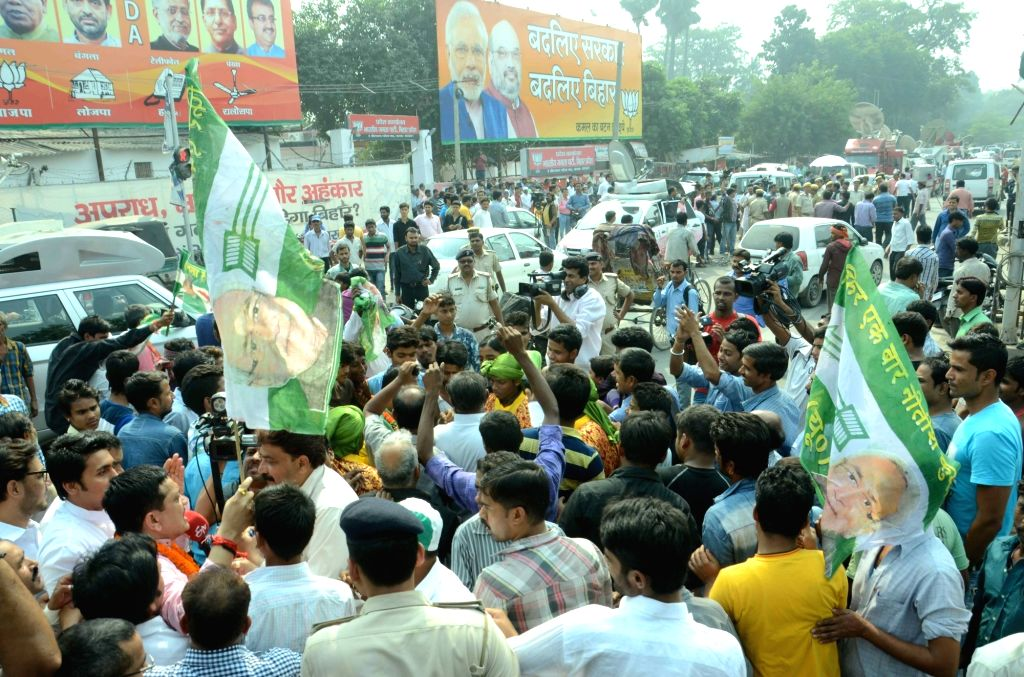 : Patna: JD(U) workers celebrate party's performance in the recently concluded Bihar assembly polls in Patna on Nov 8, 2015. (Photo: IANS). - Nitish Kumar