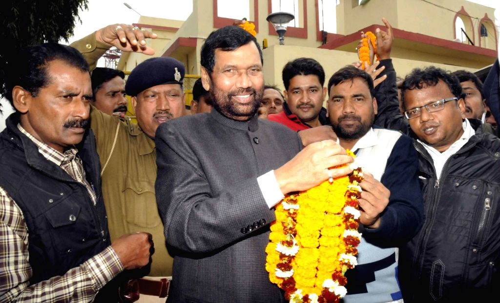 LJP chief and Union Minister for Consumer Affairs, Food and Public Distribution Ramvilas Paswan arrives at Patna Airport on Jan 2, 2015.