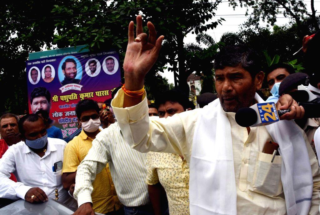 Patna :  Lok Jashkty Party rebel MP Pashupati Kumar Paras arrive to attend party parliamentary committee meeting in Patna, on Thursday  17 June 2021. - Pashupati Kumar Paras