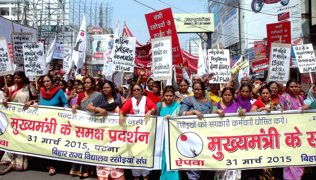 Mid-Day meal workers stage a demonstration outside Bihar assembly in Patna, on March 31, 2015.