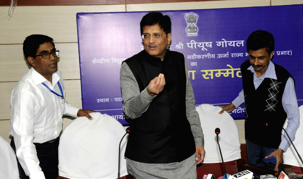Minister of State with Independent Charge for Power, Coal and New & Renewable Energy Piyush Goyal addresses a press conference in Patna on Nov. 15, 2014.