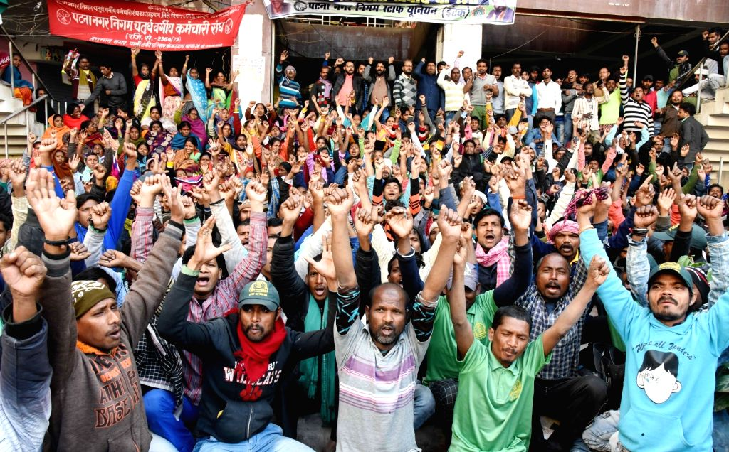 Patna Municipal Corporation (PMC) workers stage a demonstration to press for their various demands as their indefinite strike continues, on Feb 6, 2020.
