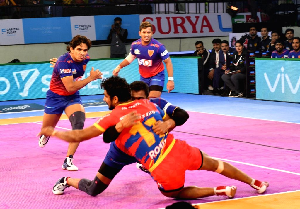 :Patna: Players in action during a Pro Kabaddi League 2018 match between Dabang Delhi and UP Yoddha at Patliputra Sports complex in Patna on Oct 28, 2018. (Photo: IANS).