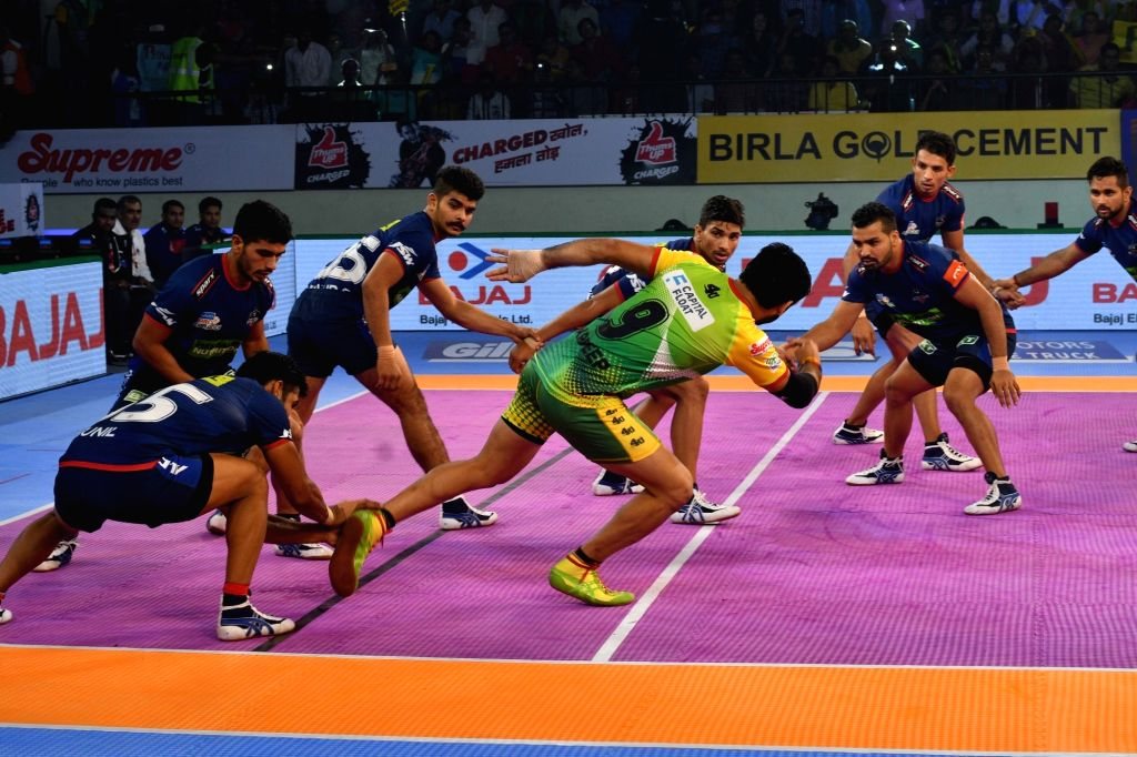 :Patna: Players in action during a Pro Kabaddi League 2018 match between Patna Pirates and Haryana Steelers at Patliputra Sports complex in Patna on Oct 28, 2018. (Photo: IANS).