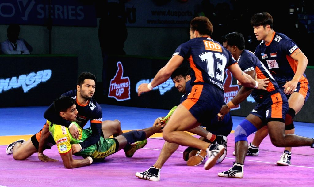 : Patna: Players in action during a Pro Kabaddi League (PKL 2018) match between Patna Pirates and Bengal Warriors in Patna on Nov. 1, 2018. (Photo: IANS).