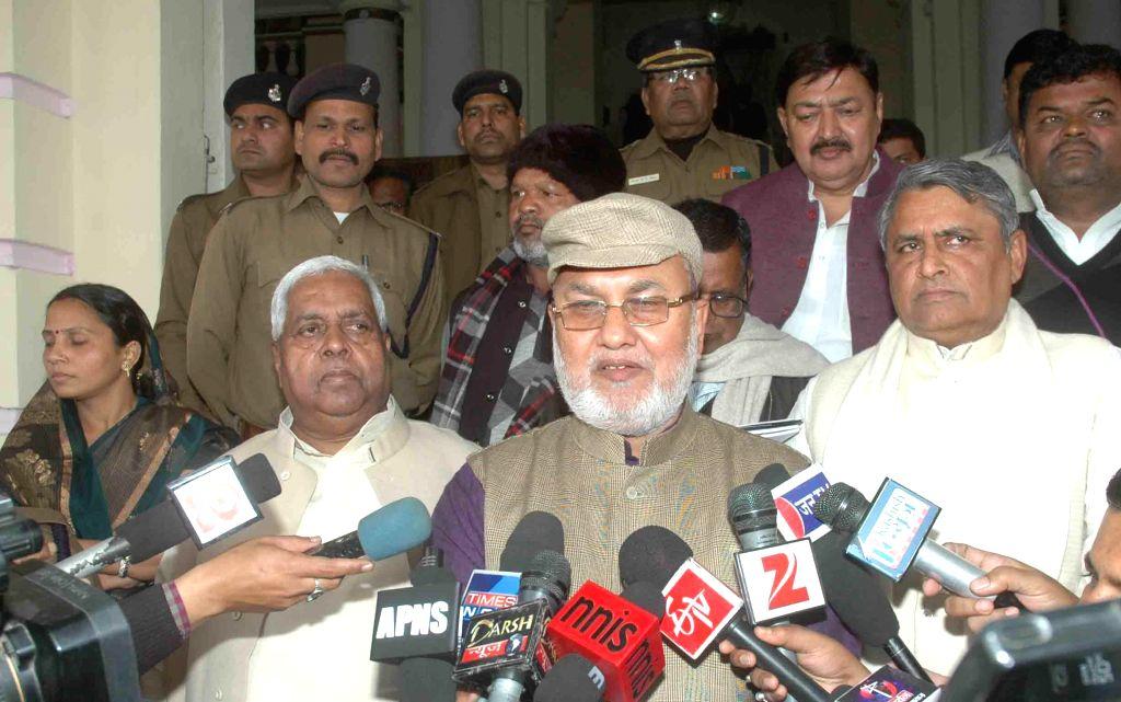 Rashtriya Janata Dal (RJD) leader Abdul Bari Siddiqui during a press conference after an all party meeting called by Bihar Legislative Assembly Speaker Uday Narain Choudhary in Patna on Feb ... - Uday Narain Choudhary