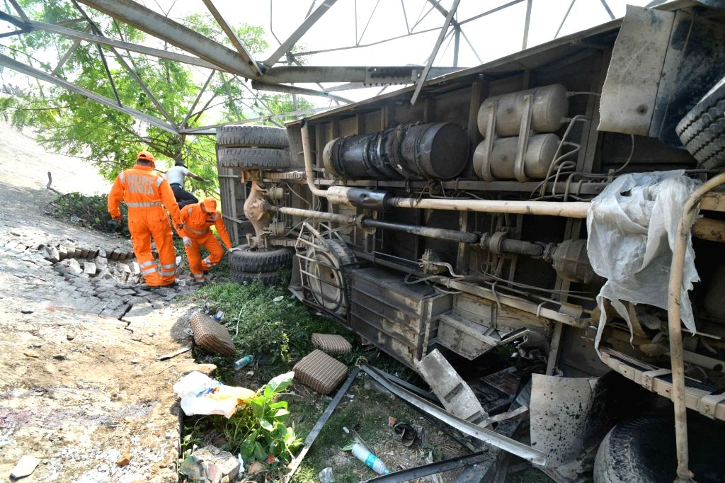 : Patna: Rescue operations underway at the site where at least four persons were killed and nearly 24 injured after a bus travelling from Patna to Bihar's Samastipur district overturned near ...