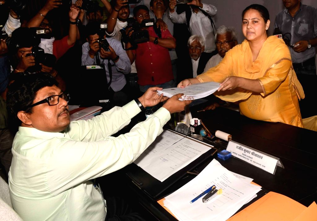 Patna: RJD's Lok Sabha candidate from Pataliputra, Misa Bharti files her nomination for the forthcoming Lok Sabha elections in Patna, on April 25, 2019. (Photo: IANS)