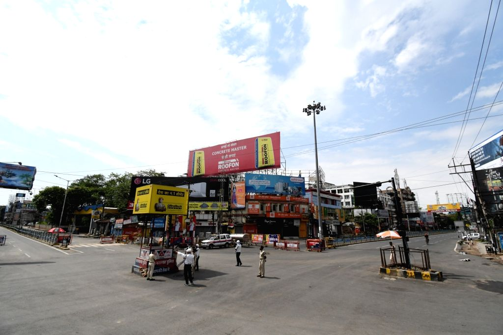 Patna's Dakbangla Chowk bears a deserted look during the extended nationwide lockdown imposed to mitigate the spread of coronavirus; on Apr 26, 2020.