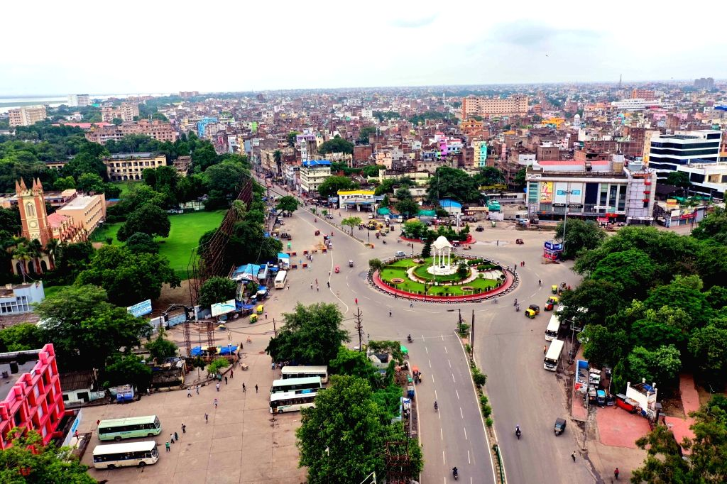 Patna's Kargil Chowk bears a deserted look during a complete COVID-19 lockdown re-imposed in Patna, on July 11, 2020.