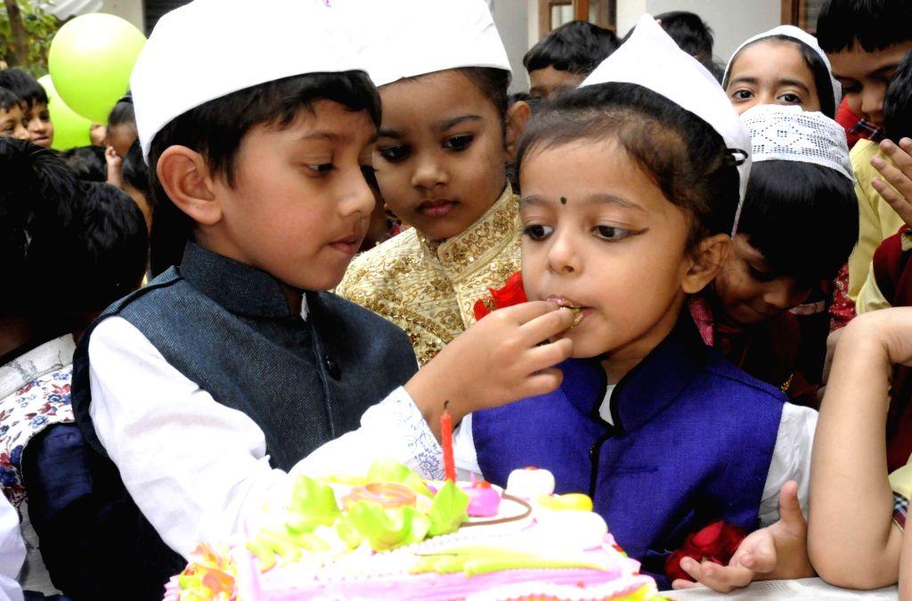 Patna: School children during Children's Day celebrations at their school in Patna on Nov 14, 2017. (Photo: IANS)