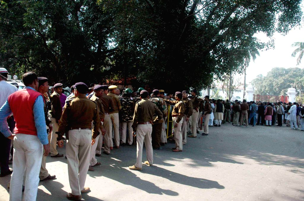 Security beef-up outside Raj Bhawan in Patna, on Feb 9, 2015.