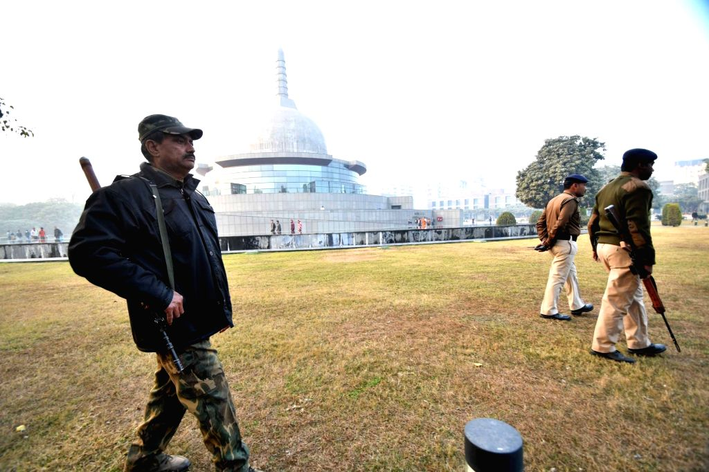 Patna: Security beefed up at Patliputra Karuna Stupa after two crude bombs were recovered near the Mahabodhi temple in Bihar's Bodh Gaya district; in Patna on Jan 20, 2018. Tibetan spiritual leader the Dalai Lama is camping in Bodh Gaya district prom