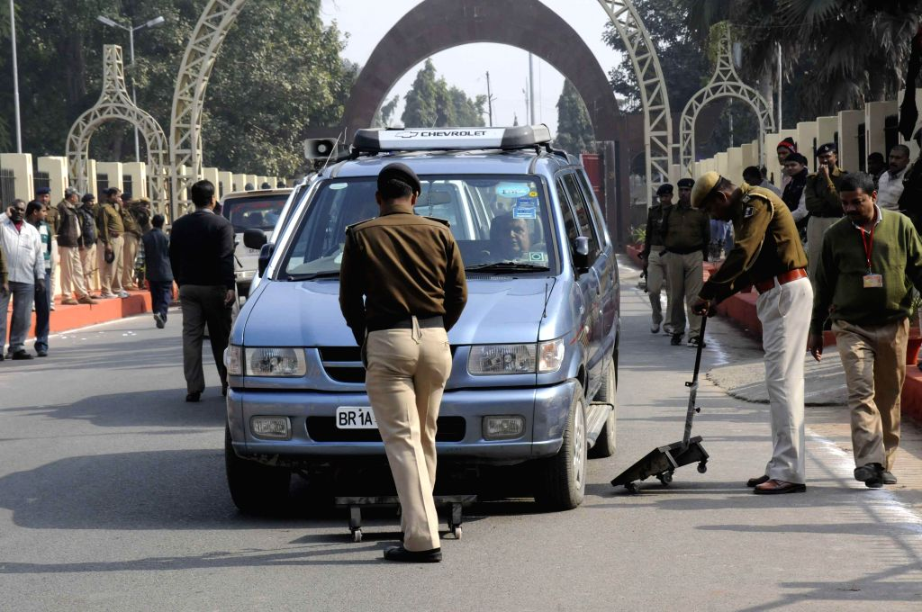Security beefed-up near Bihar Legislative Assembly during winter session of the assembly  in Patna, on Dec 19, 2014.