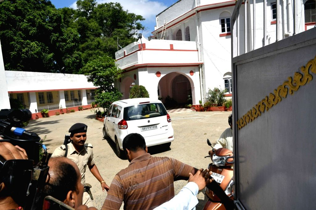 :Patna: Security personnel stand outside former Social Welfare Minister Manju Verma residence as a CBI raids in connection with its probe into the Muzaffarpur shelter home rape cases, in Patna on ...