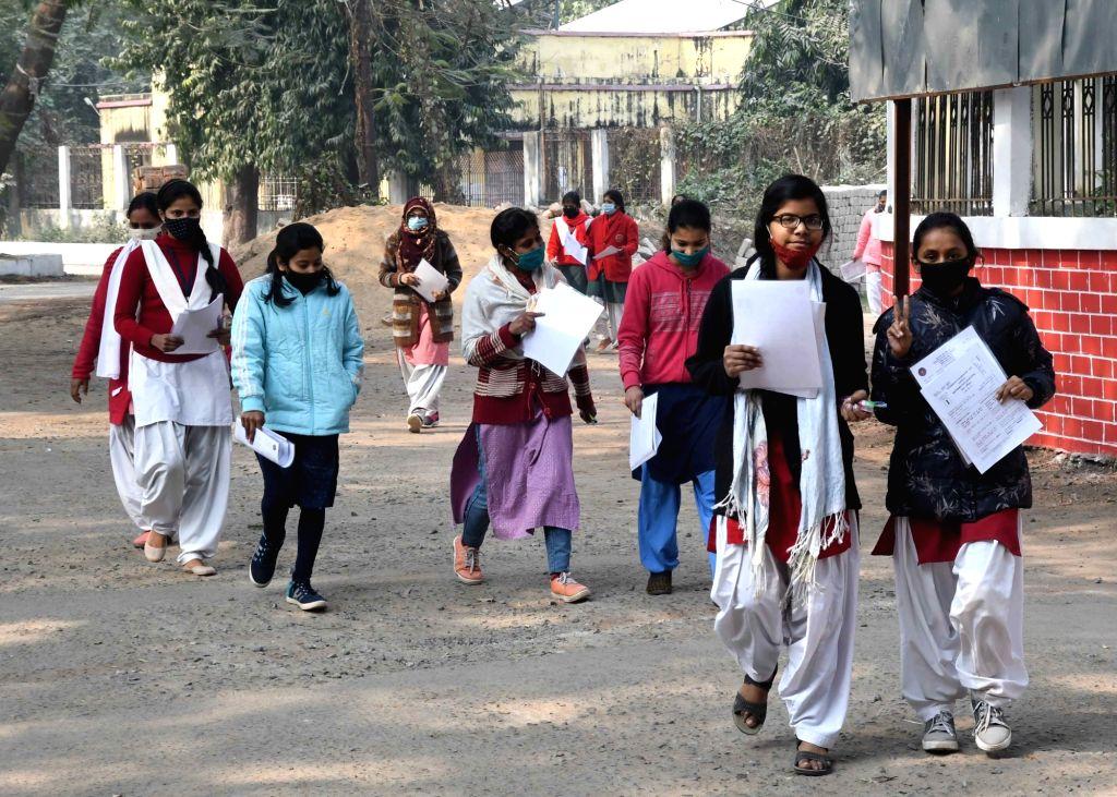 Patna: Students leaving examination halls after exams in Patna on 2nd February 2021 (Photo: Indrajeet Day/IANS)