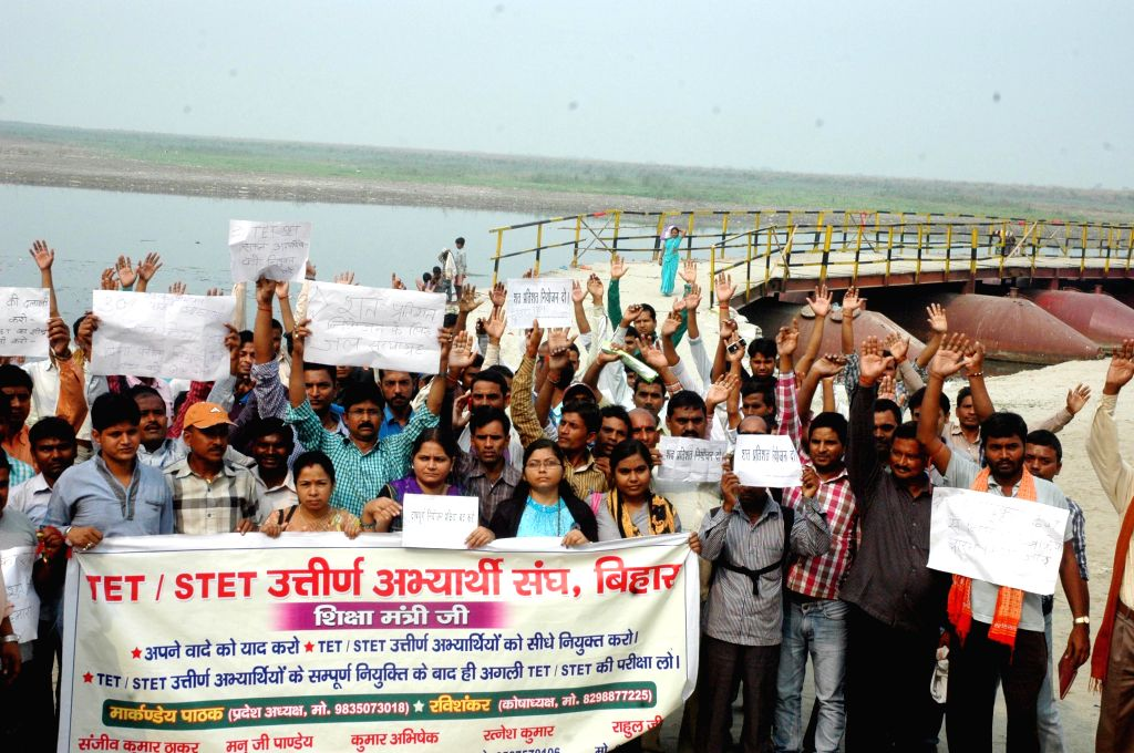 TET (Teacher Eligibility Test) qualified candidates stage a demonstration in Patna on Nov 5, 2014.