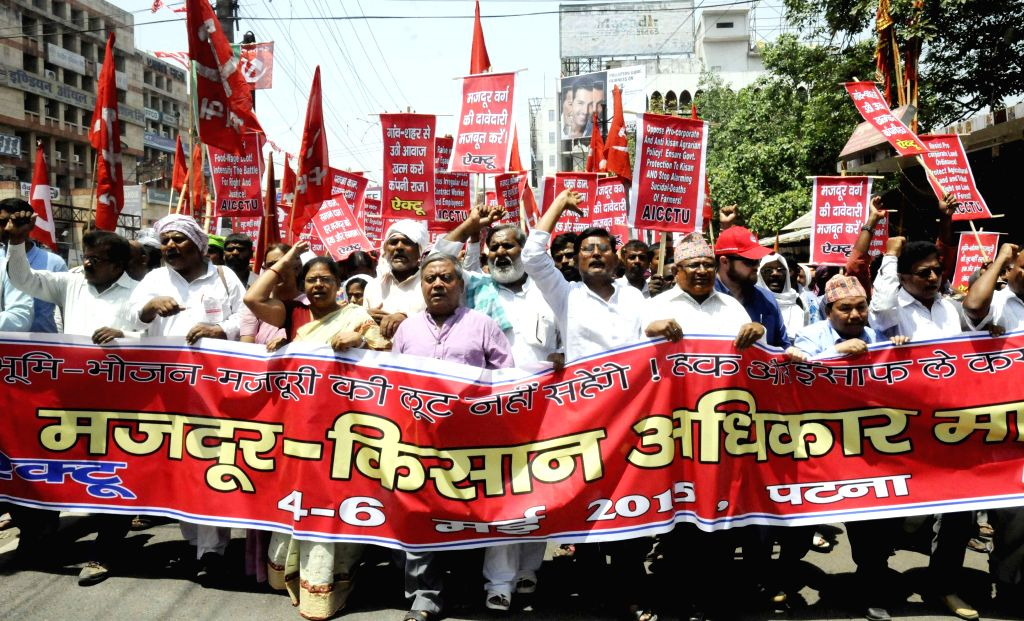 The members of All India Central Council of Trade Unions  participate in a rally in Patna, on May 4, 2015.