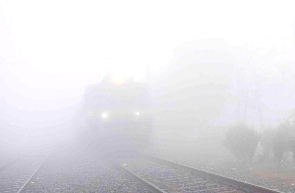 Trains get delayed due to dense fog.