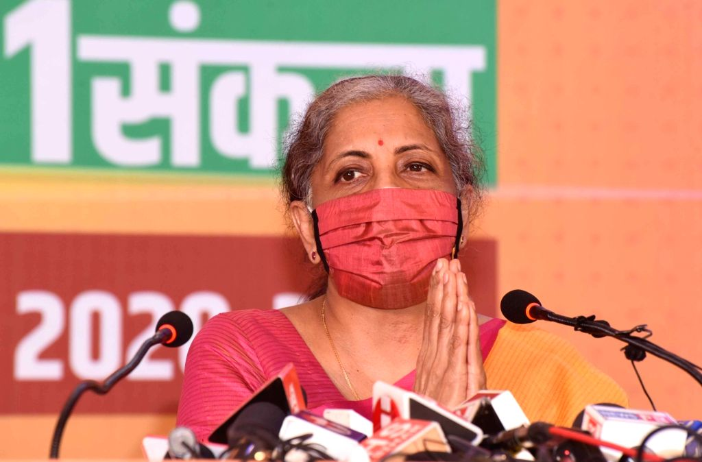 Patna: Union Finance Minister and BJP leader Nirmala Sitharaman addresses a press conference after releasing the party's election manifesto ahead of Bihar Assembly polls, in Patna on Oct 22, 2020. (Photo: IANS)