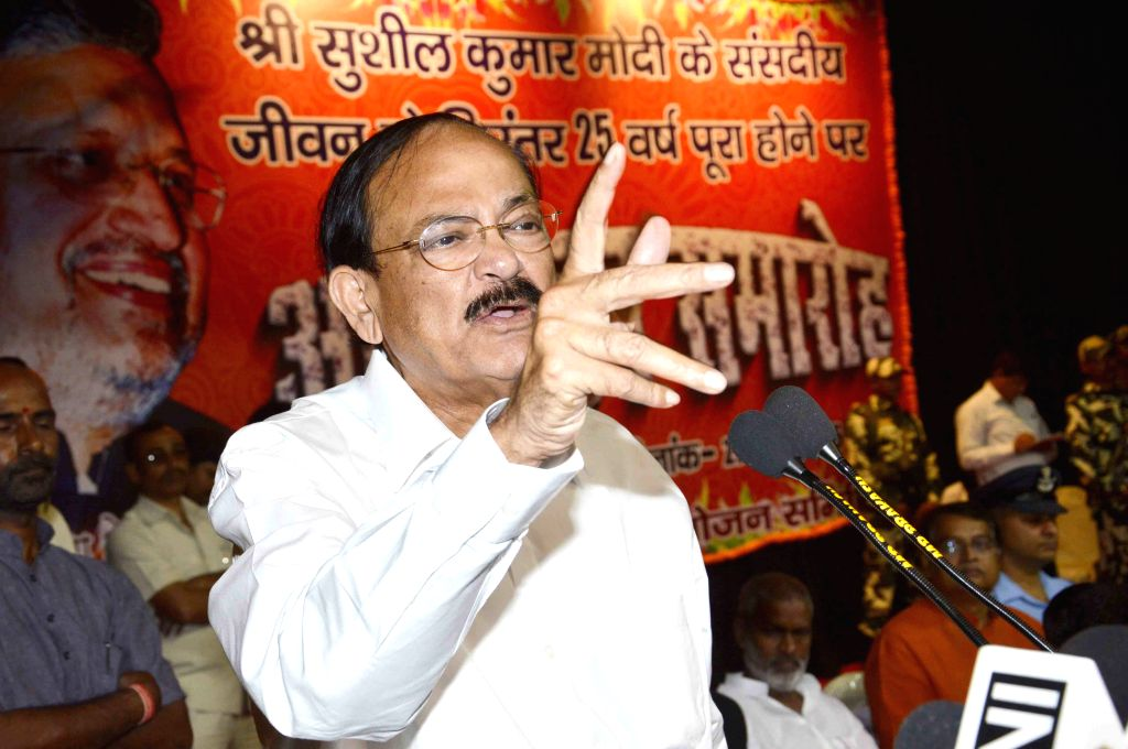 Union Minister for Urban Development, Housing and Urban Poverty Alleviation and Parliamentary Affairs M. Venkaiah Naidu addresses during a BJP programme in Patna, on March 27, 2015. - M. Venkaiah Naidu
