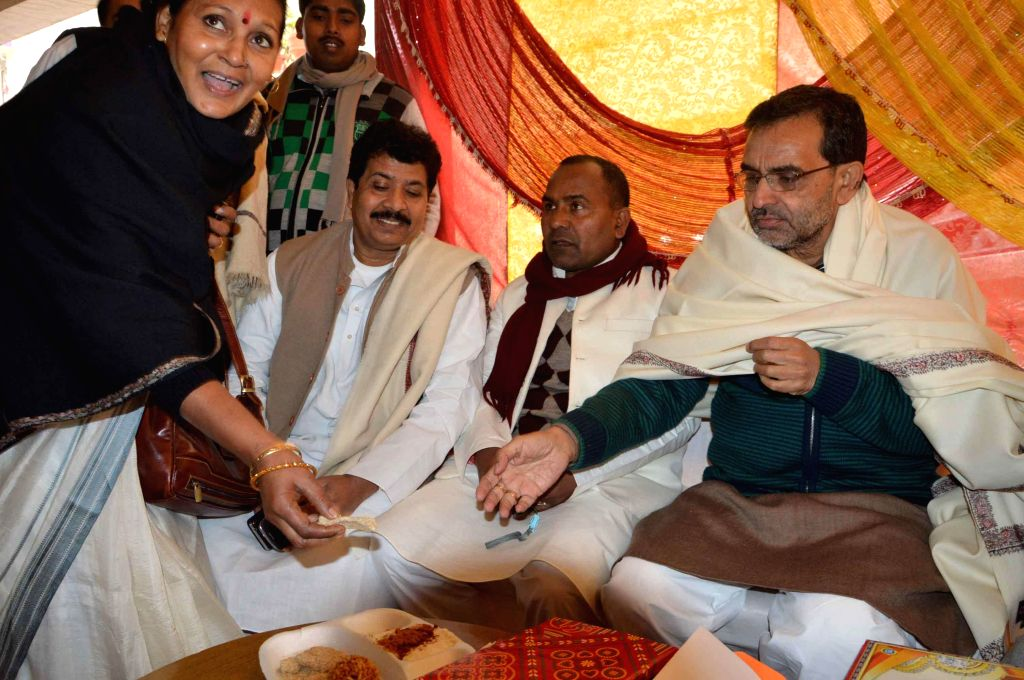 Union Minister of State for Human Resource Development Upendra Kushwaha during a feast organised on Makar Sankranti in Patna, on Jan 14, 2015.