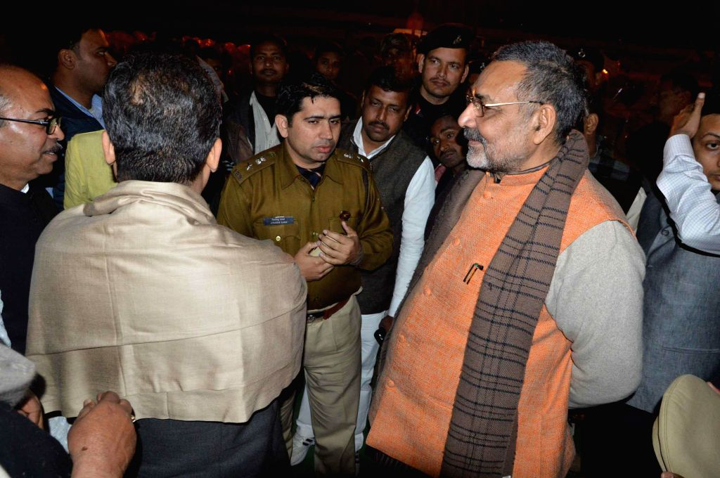 Union MoS for Micro, Small & Medium Enterprises Giriraj Singh inspects preparations for BJP chief Amit Shah's upcoming rally in Patna, on Jan 22, 2015. - Enterprises Giriraj Singh